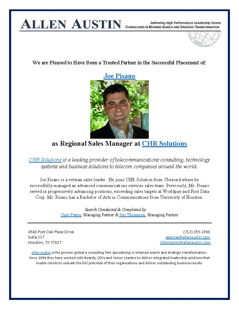CHR Solutions - Regional Sales Manager - Joe Pisano